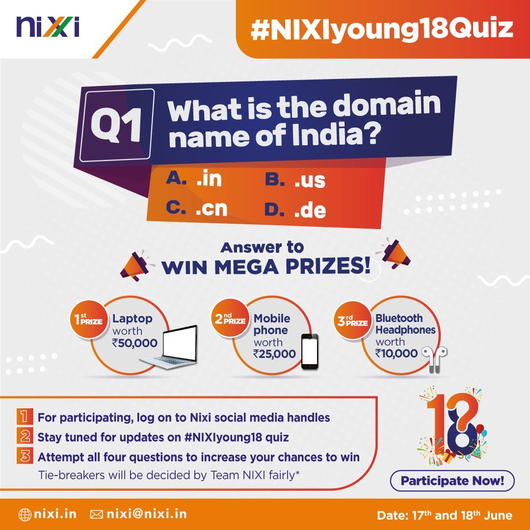 If you want to take the winning game to the next level, be the 1st one to send us correct responses to trivia questions & win a chance to become a winner. You can win prizes ranging from a laptop to a pair of BT headphones. Winner will be announced on 19th June. #NIXIyoung18 https://t.co/xtUmEmxtNp
