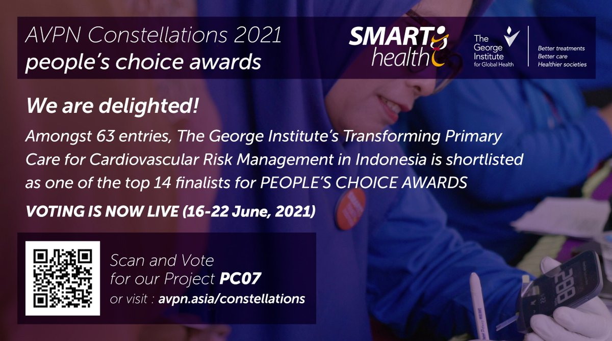 """⏩Reflecting the impact, the SMARThealth program was awarded the Indonesian Ministry of Health's 2019 """"Best Health Service Innovation Award"""" & is now nominated as one of the finalist for @avpn_asia  Constellations 2021, People's Choice Awards.   #VoteNow - https://t.co/asYtoinFrd https://t.co/C63eWgsErm"""