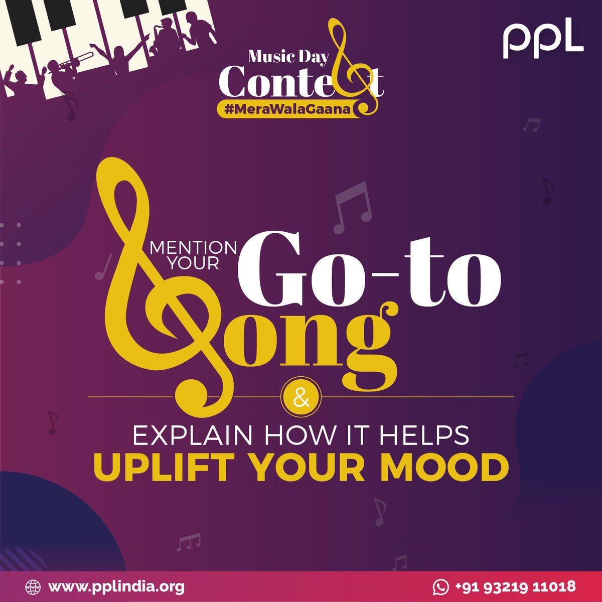 #ContestAlert Music Day is on the way, let's celebrate it our way! Comment below your go-to song and explain how it helps uplift your mood. #MeraWalaGaana  #PPLIndia #Music #PlayMusicByTheRules #MusicDay #Contest #StayTuned #Giveaway #ContestOfTheMonth #Win https://t.co/2bOK264A4H