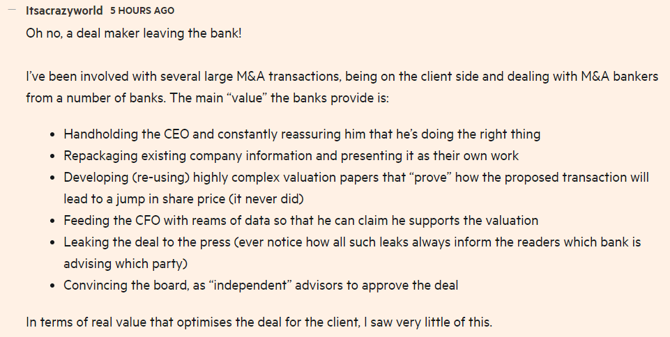 this FT reader basically nails what M&A bankers do: https://t.co/4aDVx3U2Z3