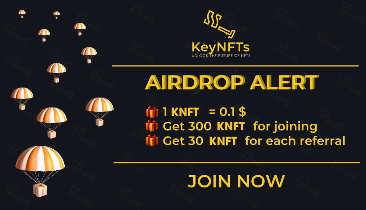 Hello everyone!   ✅ Airdrop ✅  🚀 Airdrop: Key NFTs Airdrop 💰 Value: 30$ 👥 Referral: 3$ Go to the Airdrop Bot: https://t.co/YuJKCYqqf2  ✅Please do the required tasks to be eligible to get airdrop tokens. https://t.co/iYtCflnACh