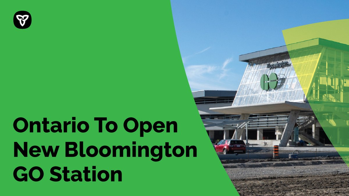 Our government is committed to improving the transit experience & making life easier for the people of Ontario.  That's why we're excited to announce the new Bloomington GO Station will officially open on June 28! ✅More access ✅Convenient service  https://t.co/0FizTdxMdF https://t.co/HeL0LuZnrQ