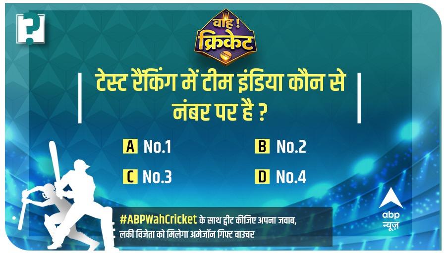 'वाह! क्रिकेट' में आज का सवाल: टेस्ट रैंकिंग में टीम इंडिया कौन से नंबर पर है ?  #ABPWahCricket के साथ ट्वीट कीजिए अपना जवाब, लकी विजेता को मिलेगा अमेजॉन गिफ्ट वाउचर   @preetiddahiya https://t.co/pU2NMuRdKK