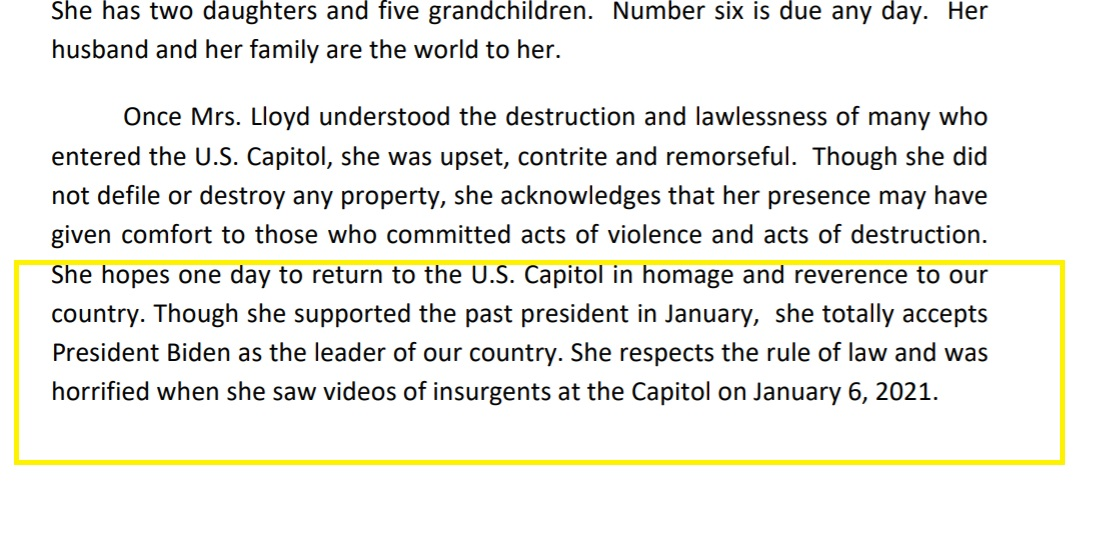 """Her attorney says this about Anna Morgan-Lloyd  """"Though she supported the past president in January, she totally accepts President Biden as the leader of our country. She respects the rule of law and was horrified when she saw videos of insurgents at the Capitol on January 6"""" https://t.co/JYSj5Ttgl6"""