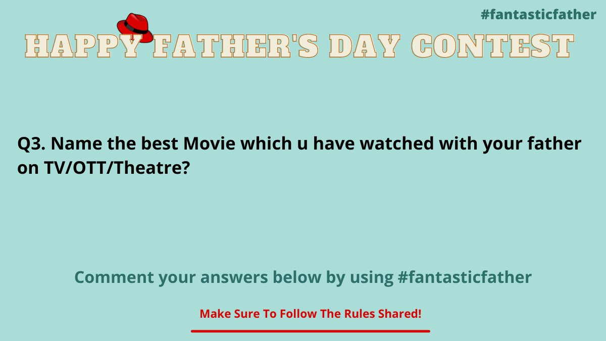 Get rolling for the third question of the father's day contest guysss! Tag ur friends and let them know about this contest and increase the chances for your win.   #FathersDay #fantasticfather #father #FathersDay2021  #contestalert #Twitter #fathersdaygifts #gift #ThursdayTreat https://t.co/gOASt1vSf3