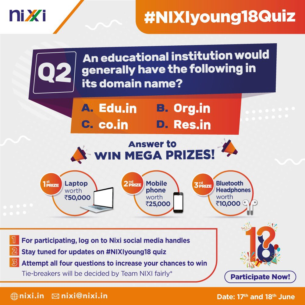 Be a part of NIXI Foundation Day celebrations! The best day for the year is back and this time with bigger prizes and tons of fun activities! Answer this question to win huge prizes! Winner to be announced on 19th June.  #celebration #18years #milestone #achievement #content https://t.co/h3SWPKzS2f