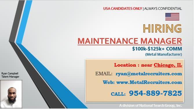 👷 HIRING - PLEASE SHARE --  ☎ 954-889-7825 📧 ryan@metalrecruiters.com 🌎 https://t.co/tO58piCols  #maintenance #metal #manufacturing #melt #scrap #machanical #eletrical #OSHA #hotjobs #employment #steel #manager https://t.co/QSLTuipKot