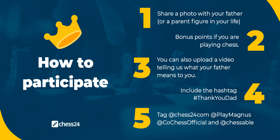 test Twitter Media - Father's Day is just around the corner, and to celebrate, we have a fun challenge for you. Participate for a chance to win prizes from @chessable, @CoChessOfficial and @PlayMagnus! https://t.co/inDcExGycH