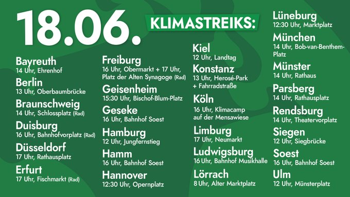 Liste der Klimastreiks am 18.06.: Bayreuth, 14:00 Uhr, Ehrenhof Berlin, 13:00 Uhr, Oberbaumbrücke Laufdemo Braunschweig, 14:00 Uhr, Braunschweig (Fahrraddemo) Duisburg, 16:00 Uhr, Bahnhofvorplatz (Fahrraddemo) Düsseldorf, 17:00 Uhr, Rathausplatz Erfurt, 17:30 Uhr, Fischmarkt (Fahrraddemo) Freiberg, 16:00 Uhr, Obermarkt Freiburg, 17:00 Uhr, Platz der Alten Synagoge (Fahrraddemo) Geisenheim, 15:30 Uhr, Bischof-Blum-Platz Kundgebung Geseke-soest, 16:00 Uhr, Bahnhof Hamburg, 12:00 Uhr, Jungfernstieg Hamm, 16:00 Uhr, Soest Bahnhof Hannover, 12:30 Uhr, Opernplatz Kiel, 12:00 Uhr, Landtag Mahnwache Konstanz, 13:00 Uhr, Herosé-Park Konstanz, 13:00 Uhr, Fahrradstraße Mehr Infos Köln, 16:00 Uhr, Klimacamp auf der Mensawiese Limburg, 17:00 Uhr, Neumarkt Mehr Infos Ludwigsburg, 16:00 Uhr, Bahnhof Musikhalle (Laufdemo) Lörrach, 8:00 Uhr, Alter Marktplatz Sitzstreik Lüneburg, 12:30 Uhr, Marktplatz Laufdemo zum Klimacamp im Kurpark Münster, 14:00 Uhr, Rathaus Mahnwache ...
