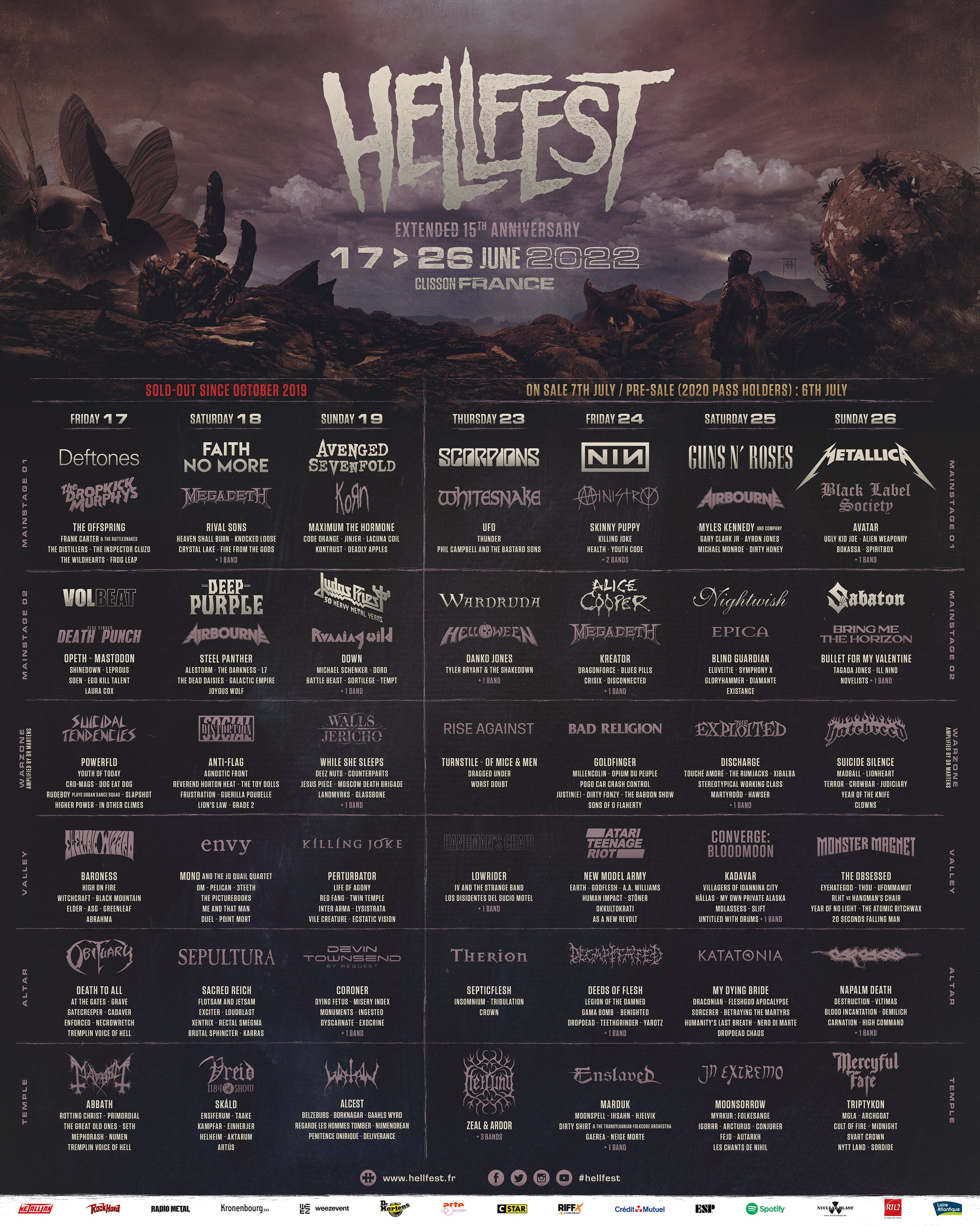 """Hellfest Open Air Festival on Twitter: """"🔥 Hell is Back🔥 17 > 26 June 2022 - Extended 15th Anniversary 7 Days / 350 Bands. https://t.co/rdNQXqA4Wy Once in a lifetime Celebration #hellfest https://t.co/8QAC9QSUN8"""" / Twitter"""