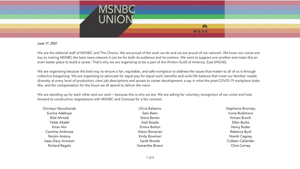 We are the editorial staff of MSNBC and The Choice. Over 200 of us have signed a union petition to join the @wgaeast. We are proud of our work and our network. We know our voices are key to making MSNBC the best place it can be for both its audience and its workers. (1/4) https://t.co/tadtGljJON