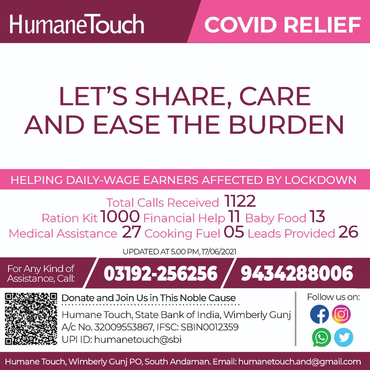 LET'S SHARE, CARE AND EASE THE BURDEN  #sharingiscaring   Help just a call away  Donate and Join us in this Noble Cause  #RiseTogetherForAndaman #StayHomeStaySafe #HumaneTouch https://t.co/QeyT75Ydln