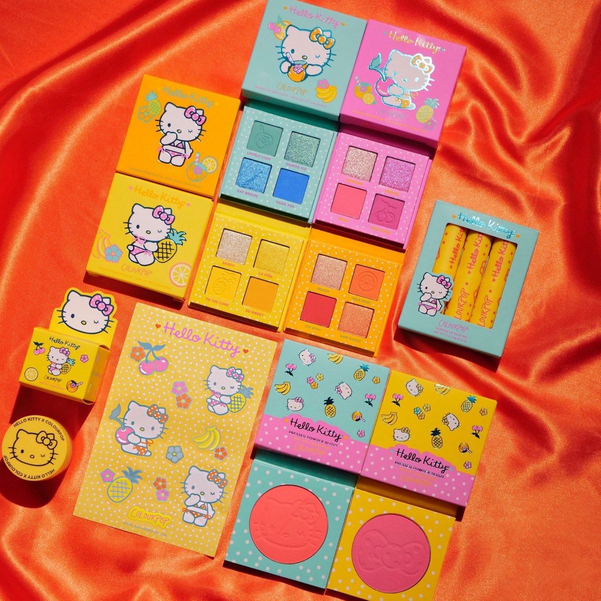🌴☀️ The @hellokitty Tropical Escape Collection is AVAILABLE NOW on https://t.co/5C9dbszKrN + https://t.co/sq8E7HkvCj!   🍒  4 NEW 4 pan eyeshadow palettes 🍌 2 Pressed Powder Blushes 🍦 Glowing Lip Balm kit 🍍 Pineapple Lip Scrub  #HelloKittyXColourPop https://t.co/0SihMPLg7g