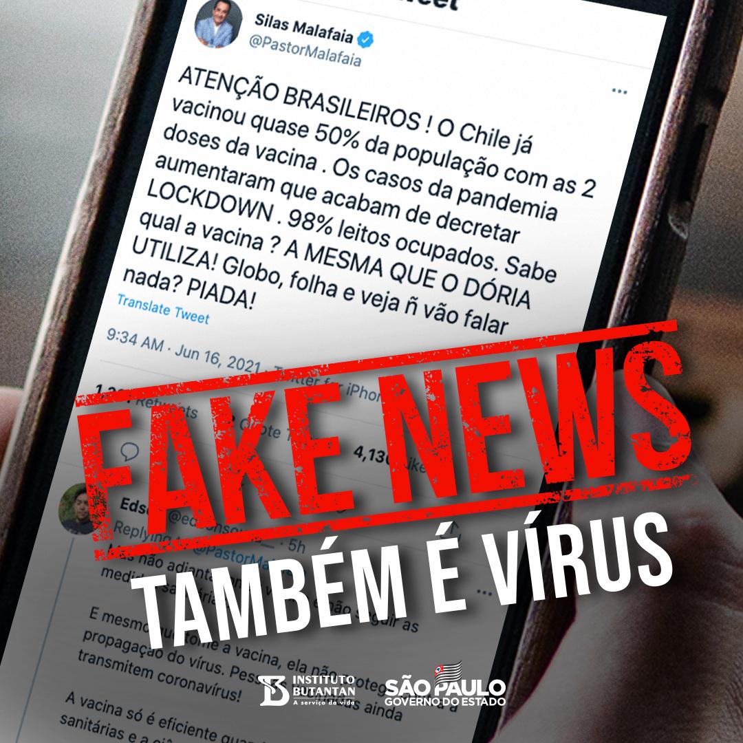 É falso associar um aumento nos casos de Covid-19 no Chile ao uso da Coronvac. A vacina é segura e eficaz. O Ministério da Saúde chileno constatou 90,3% de eficácia da Coronavac na redução de internações em UTI, além de redução de mortes. A gente repudia as Fake News. #Vacina https://t.co/hfX0TntdmP