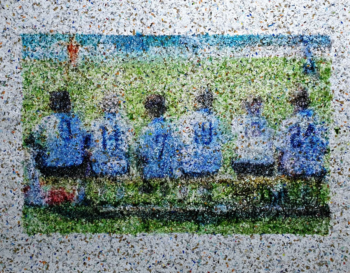 Fascinating textures Acrylic painting on shredded paper by Alessio Mazzarulli ⚽ We will play 75x95cm https://t.co/OFnf9s8lFJ . #artsartistsartwork #buyart #artgallery #art #fineart #artoftheday #artforyourhome #football #painting #thebeautifulgame #alessiomazzarulli #acrilicart https://t.co/hMx1cAmnQI