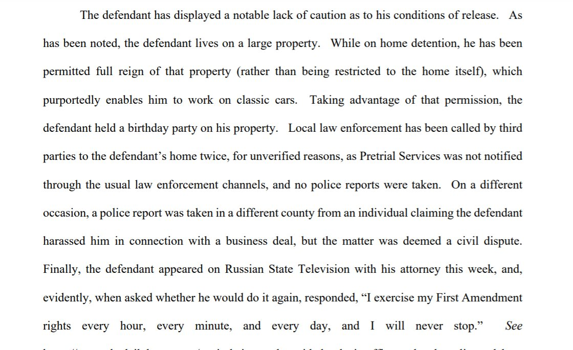 """Prosecutors say Richard Barnett who put his feet up on a desk in Nancy Pelosi's office has shown """"a notable lack of caution"""" on pretrial release. First he used permission to work on classic cars on his property to hold a birthday party. Then...he went on Russian TV w/his lawyer. https://t.co/ru24KWfb0n"""