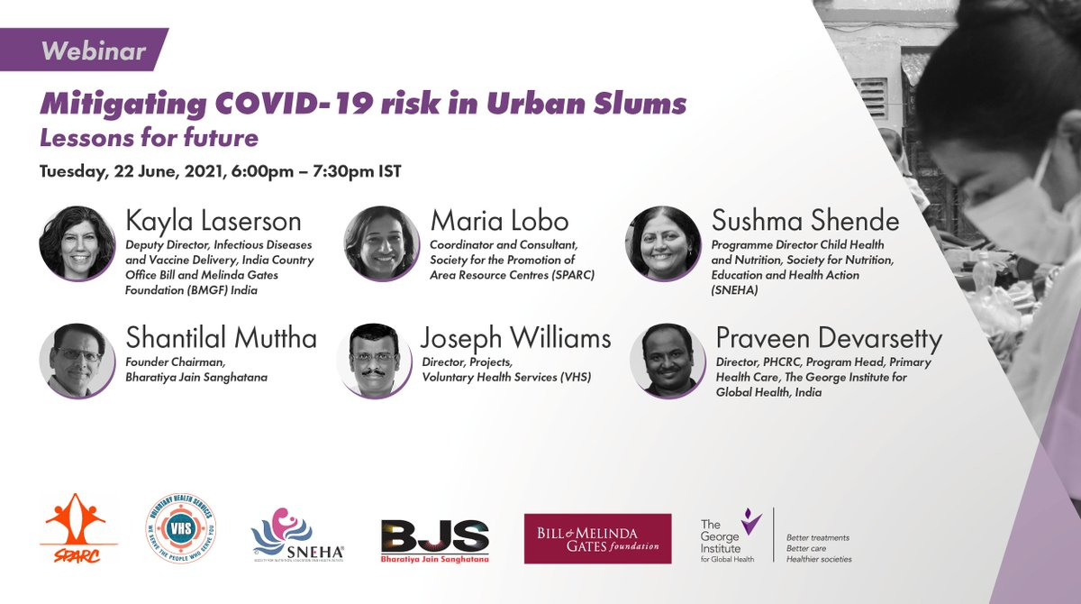 📎 JOIN US!   Next Tues 1.30pm (BST) @GeorgeInstIN are hosting a #webinar on mitigating #COVID19 risk in urban slums   Panellists and attendees will consider learnings from community-based interventions & how to #BuildBackBetter  REGISTER: https://t.co/sLs6UdOAvH @georgeinstitute https://t.co/Jitj5LInrb