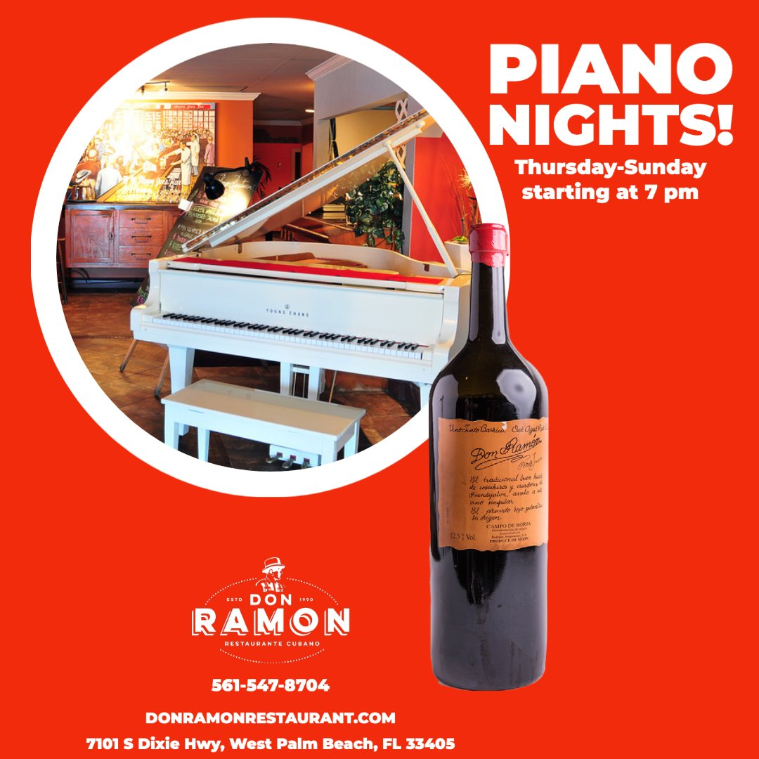 Join #DonRamonDixie for #PianoNights every Thursday-Sunday starting at 7 pm!   #foodie #561craving #restaurant #eatlocal #smallbusiness #cubanfood #cuba #westpalmbeach #palmbeachcounty #comida #authentic #flavor #yummy #eats #cravings #piano https://t.co/1pNLDyRgTx