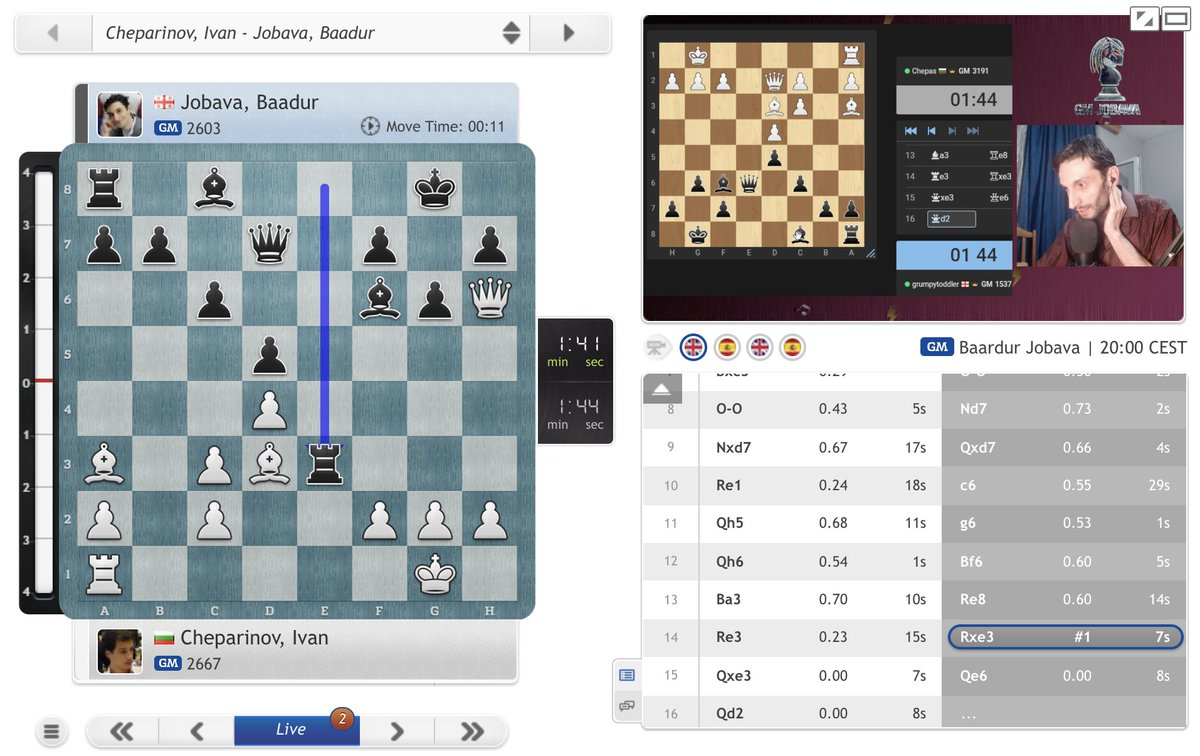 """test Twitter Media - Giri's competition is International Man of Mystery Baadur Jobava, who blundered mate-in-1 in the first game of his #BanterBlitzCup semi-final, but Ivan Cheparinov missed it! (""""Sick!"""" said Baadur)   https://t.co/KQwH38xt3W https://t.co/JWPEpBhYLR"""