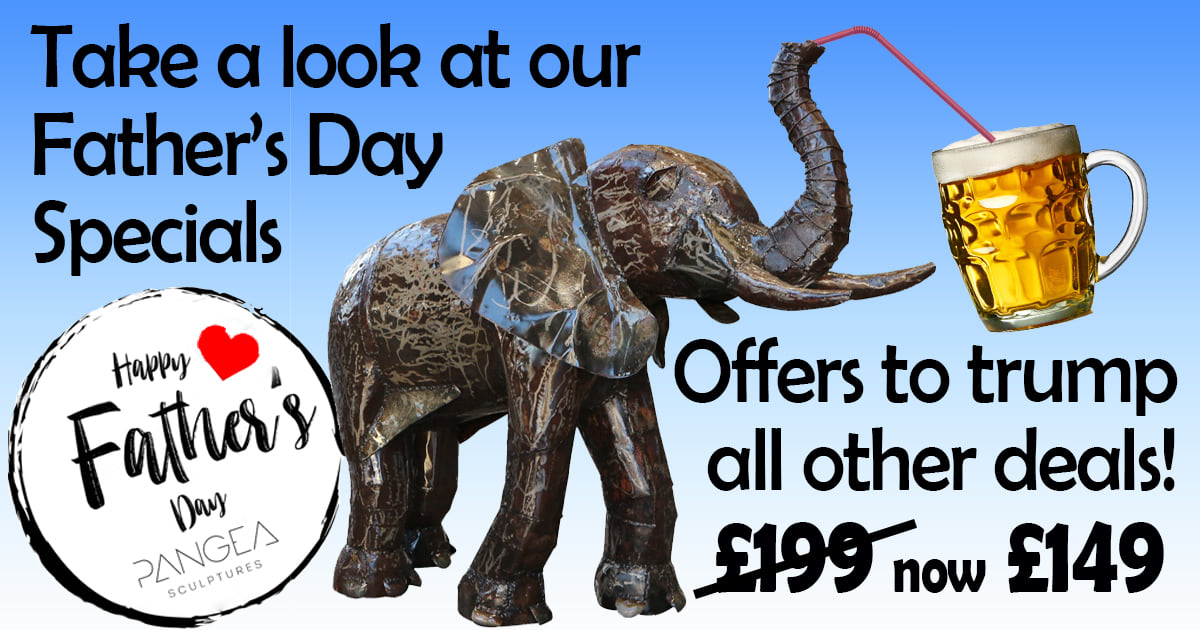 Head in store for our Father's Day Special offers! We are open 9am - 6pm Friday & Saturday, online orders are still available, although we can't guarantee Sunday delivery. #fathersday #giftideas #presents #gifts #father #dad #sculptures #handmade #garden #africa #elephants https://t.co/0IeaDVlFV7