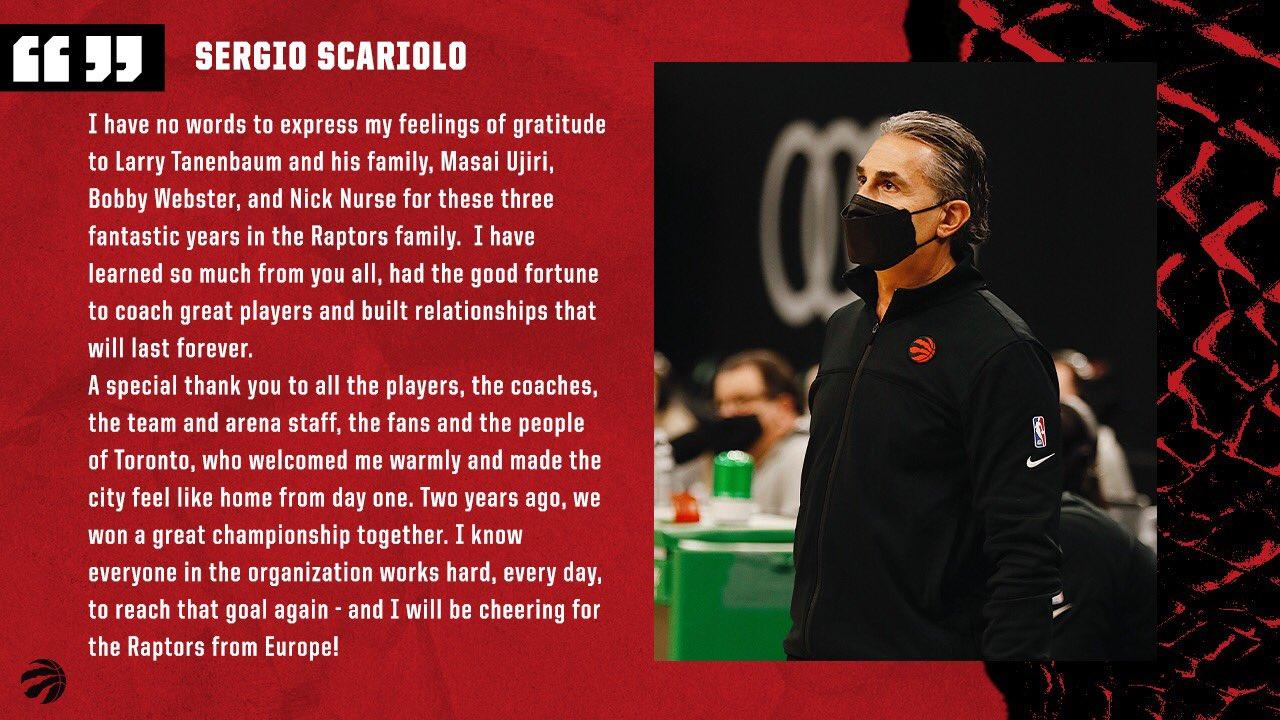 Sergio Scariolo si congeda ufficialmente dai Toronto Raptors