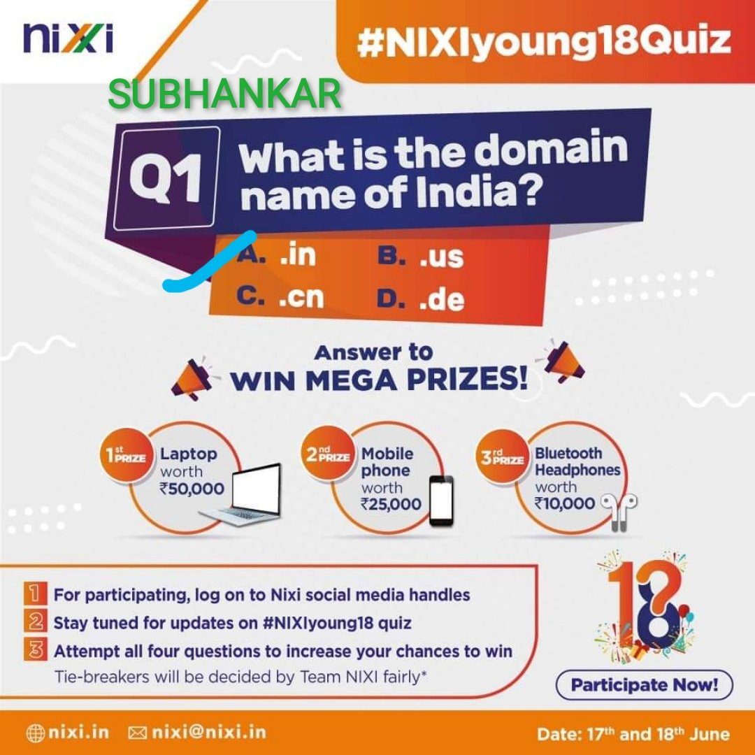 @inregistry @CeoNixi @GoI_MeitY @DoT_India @stpiindia @PIB_India @mygovindia @_DigitalIndia @OfficeOfRSP @minmsme @inregistry   Answer of Q1 is 👉 A) .in  #NIXIyoung18 #celebration #18years #milestone #achievement #content #quiz #business #growth #leadership #dotin   Fingers crossed 🤞 BIGGEST WISH TO WIN DEAR TEAM 💙 💜 ❤️ 💙  Join friends  @invisibleindra1 @Sagar2612 https://t.co/f9oaq50stA
