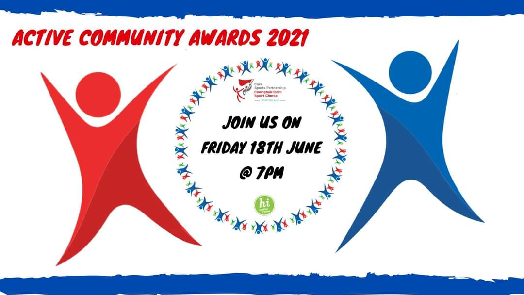 🎊@CorkSports Active Community Award Winners across 4 categories are being announced at 7pm today Friday 18th June 🎊   Join us for the live stream:  📍 Facebook: https://t.co/cBRjGWBUdd 📍 Youtube: https://t.co/5r7HtF6QUt  #ActiveCorkAwards21  #KeepCorkActive  #CorkSportsAbility https://t.co/KKchPeWzOU