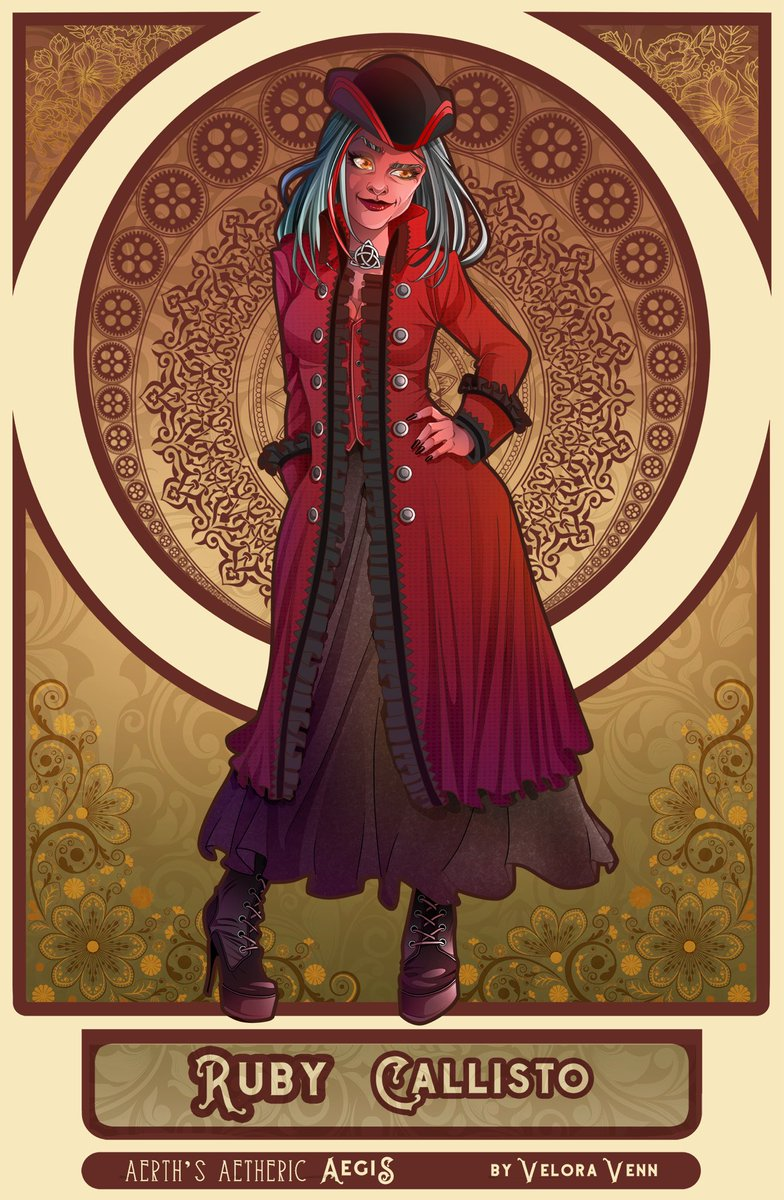 Captain Ruby Callisto of Above and Beyond, the finest, fanciest, most elegant, yet adequately-armed pirate airship around! She is an Ascendant, hence her unique skin tone and hair (not to mention, effortlessly-great looks for being in her sixties).  #CharacterArt #Steampunk