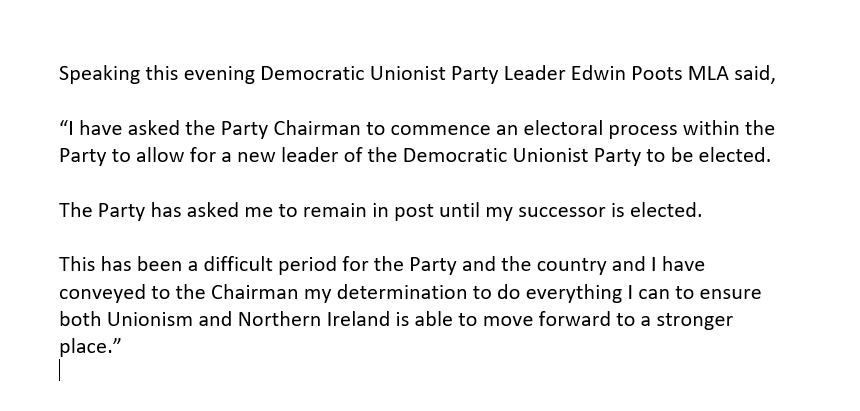 🚨 EDWIN POOTS HAS RESIGNED AS DUP LEADER🚨  He was ratified as new party leader 503 hours ago. https://t.co/4gjItAYfq2