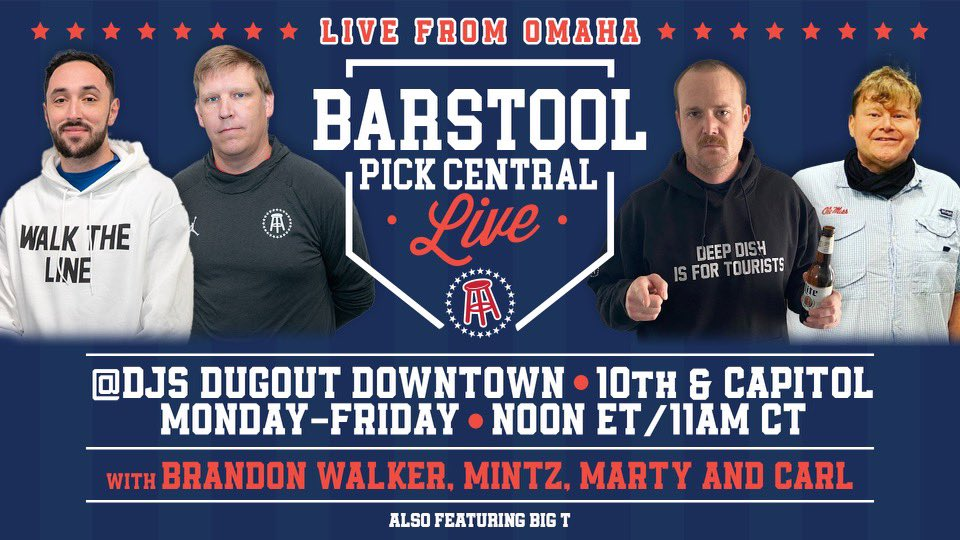ATTENTION STOOLIES! @barstoolsports is coming to DJ's Dugout 10th & Capitol location! @PicksCentral will be broadcasting LIVE from DJ's Downtown Monday - Friday next week from 11am to Noon! We are so pumped up to have Barstool at DJ's Dugout! #GrowTheGame