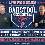 To grow the game, @barstoolsports is heading to Omaha for the College World Series. The crew of me, @martymush, @barstoolcarl and @BarstoolMintzy, if his vacation is over, will be live at noon ET each day next week from @DJsDugout in downtown Omaha. Join us.