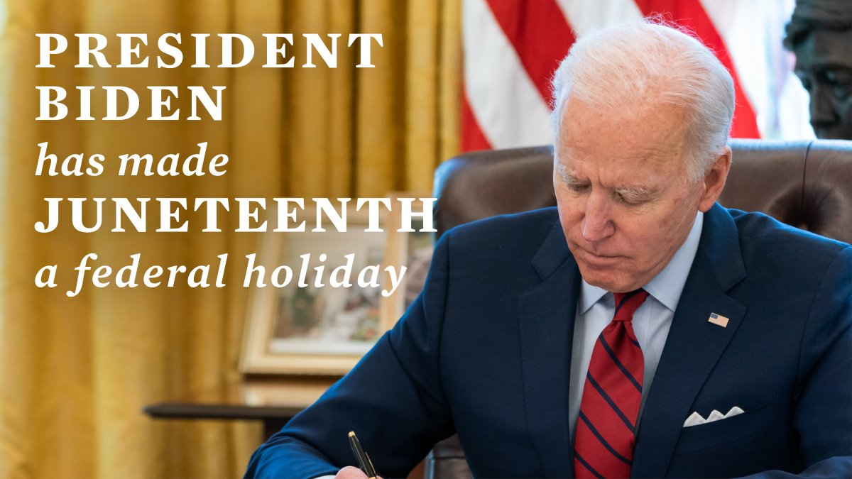 Today, @POTUS took the important and long overdue step of designating Juneteenth a federal holiday. But we cannot allow this to be merely symbolic. Congress must pass legislation to ensure the right to vote remains strong and protected. https://t.co/28yz5xoUUW