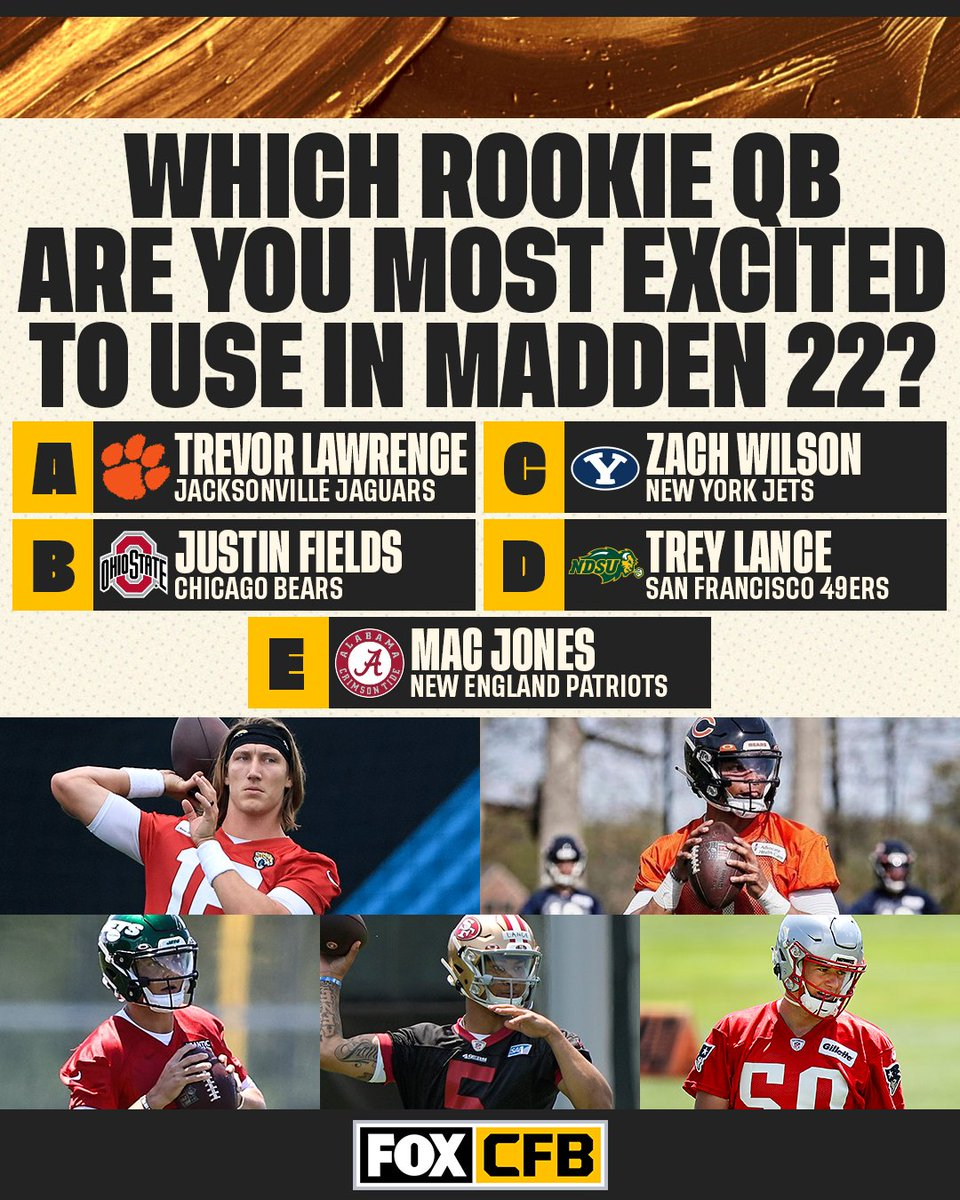 Which rookie QB are you going to try out first in @EAMaddenNFL 22? 🤔 https://t.co/9sy3rMQDBh