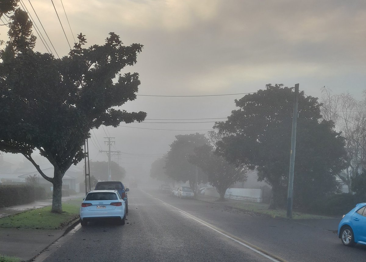First pea-souper of the year for Auckland (although this pic doesn't do it full justice).  Believe it or not, there is a large 6 story building hiding less than 200m down the road.  😀