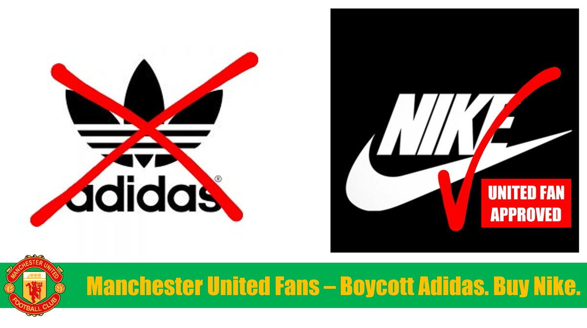 @nikefootball Manchester United fans are fed up with sponsors like @adidasfootball funding the Glazers' toxic ownership of our club. So we're boycotting them & supporting you. Nike are #UnitedFanApproved.  #GlazersOut #BoycottMUFCSponsors #NotAPennyMore https://t.co/KZtPEiO9ta