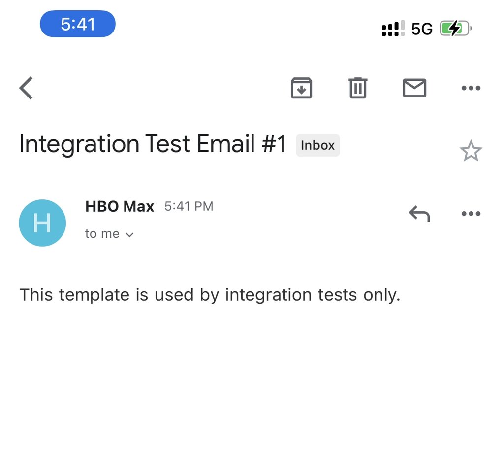 Integration Test Email #1.   Anyone else get this from HBO Max 🧐 https://t.co/NuYAVvKjnI
