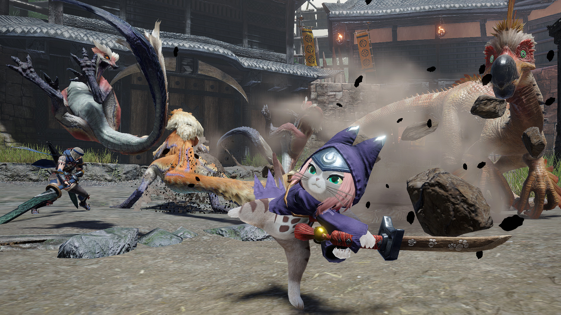 armadura superpuesta de Tsukino para camarada Felyne (de Monster Hunter Stories 2) en Rise disfrazador
