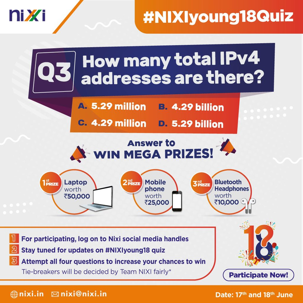 Keep a tab and get ready to win big prizes! It's NIXI's 18th foundation day and your answer can win you some amazing rewards! Winners to be announced on 19th June'21.  #NIXIyoung18  #celebration #18years #milestone #achievement #content #quizcontest https://t.co/JENqI80YZS