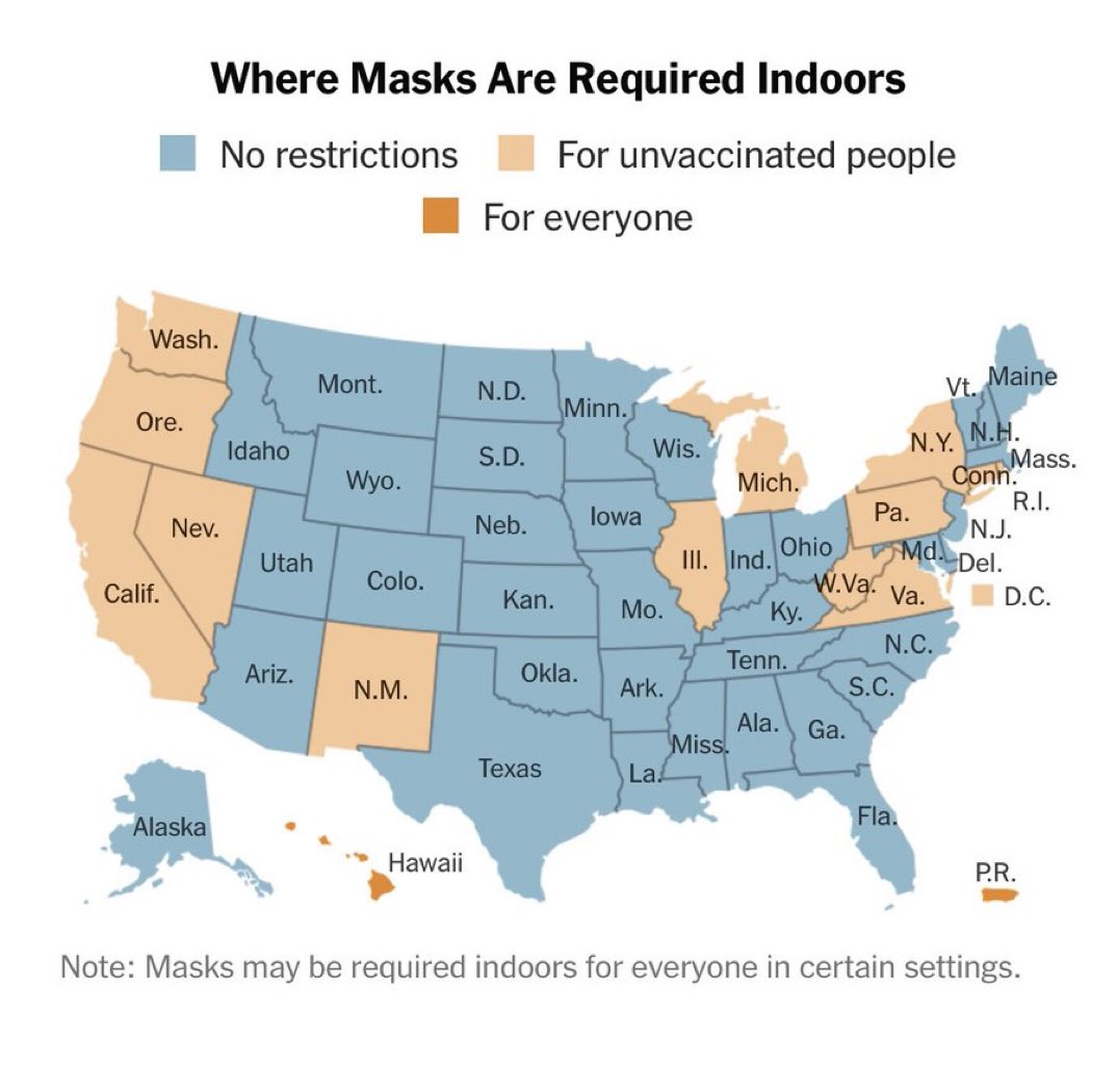 """The majority of US States have ended restrictions and also mask and social distancing mandates.   Meanwhile in the UK, we continue with restrictions and masks despite the vulnerable being vaccinated.   America has said """"enough is enough"""". So should we.  #EnoughIsEnough https://t.co/9POZbZmwZF"""