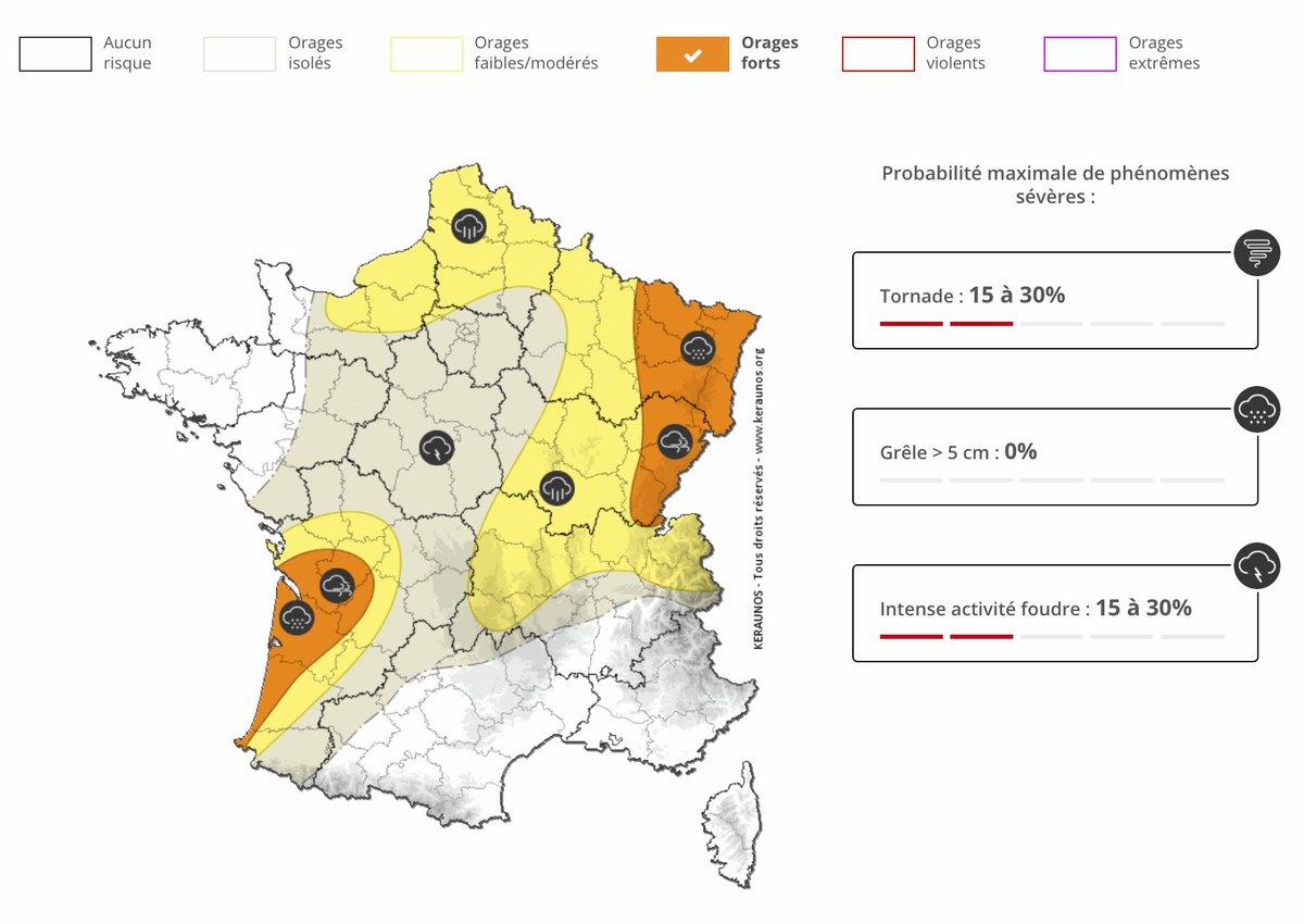 Des développements orageux parfois actifs sont attendus cet après-midi entre #Jura et #Vosges notamment. Une nouvelle dégradation orageuse s'amorcera ensuite la nuit prochaine par l'#Aquitaine.