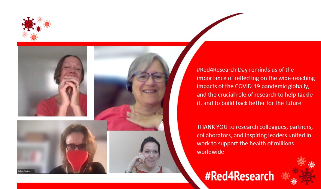 Today, colleagues from across @georgeinstitute offices including in Australia, China, and the UK mark #Red4Research Day to reflect on - and celebrate - the crucial role of research in tackling #COVID19 and #BuildingBackBetter for the future  😷💉📊🧪💙 https://t.co/0pVAaQ2IRe