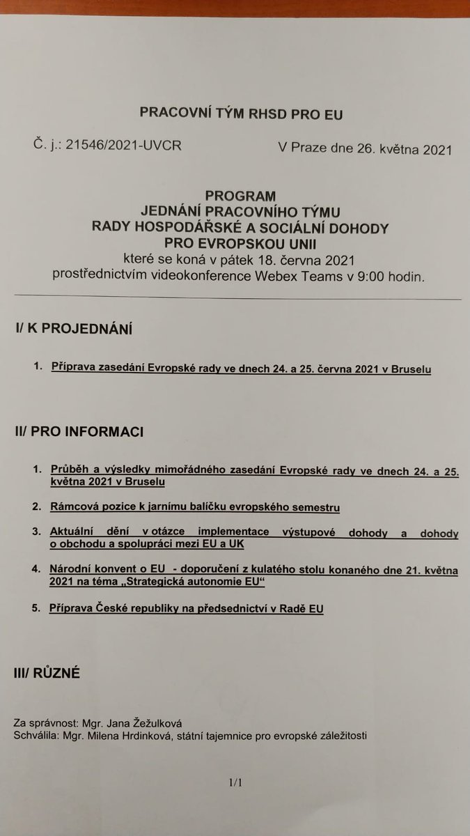 Na @strakovka se dnes uskutečnilo on-line jednání pracovního týmu #tripartita pro EU. Státní tajemnice pí. Milena Hrdinková (@CZSecStateEU) spolu se sociálními partnery řešili agendu k Evropské radě, situaci v Bělorusku, vývoj covidu nebo přípravu na naše předsednictví v Radě EU.
