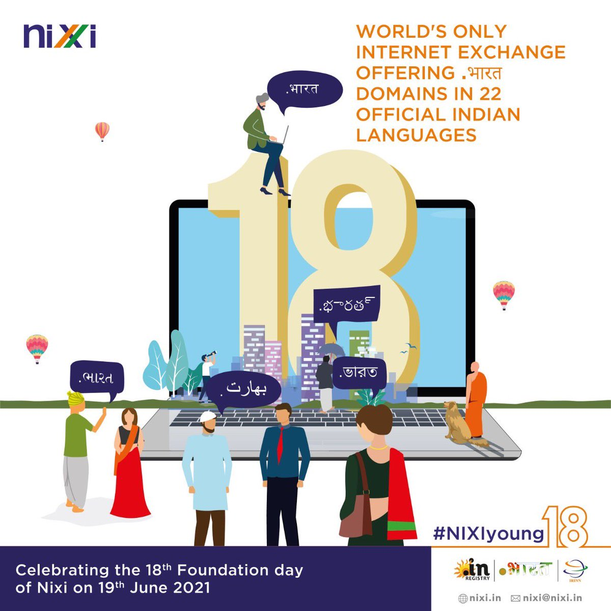 The only Internet Domain Registry that has made .IN domain available in all 22 official languages of the country - now that's something to celebrate! #NIXIyoung18  #celebration #18years #milestone #achievement #business #domain #dotin #internet #internetexchange https://t.co/GcIXlN6FJO