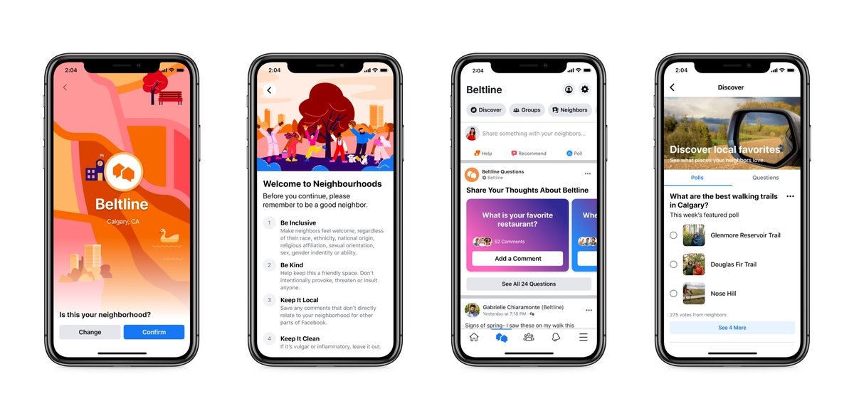 I spoke to the feature's product manager who said Facebook has learned from FB Groups in designing it. Neighborhoods moderators, for e.g., will be vetted by FB. She said Canada tests showed people sharing banana bread ingredients, finding missing cats,  recommending local biz /2 https://t.co/sgS4WrzrxK