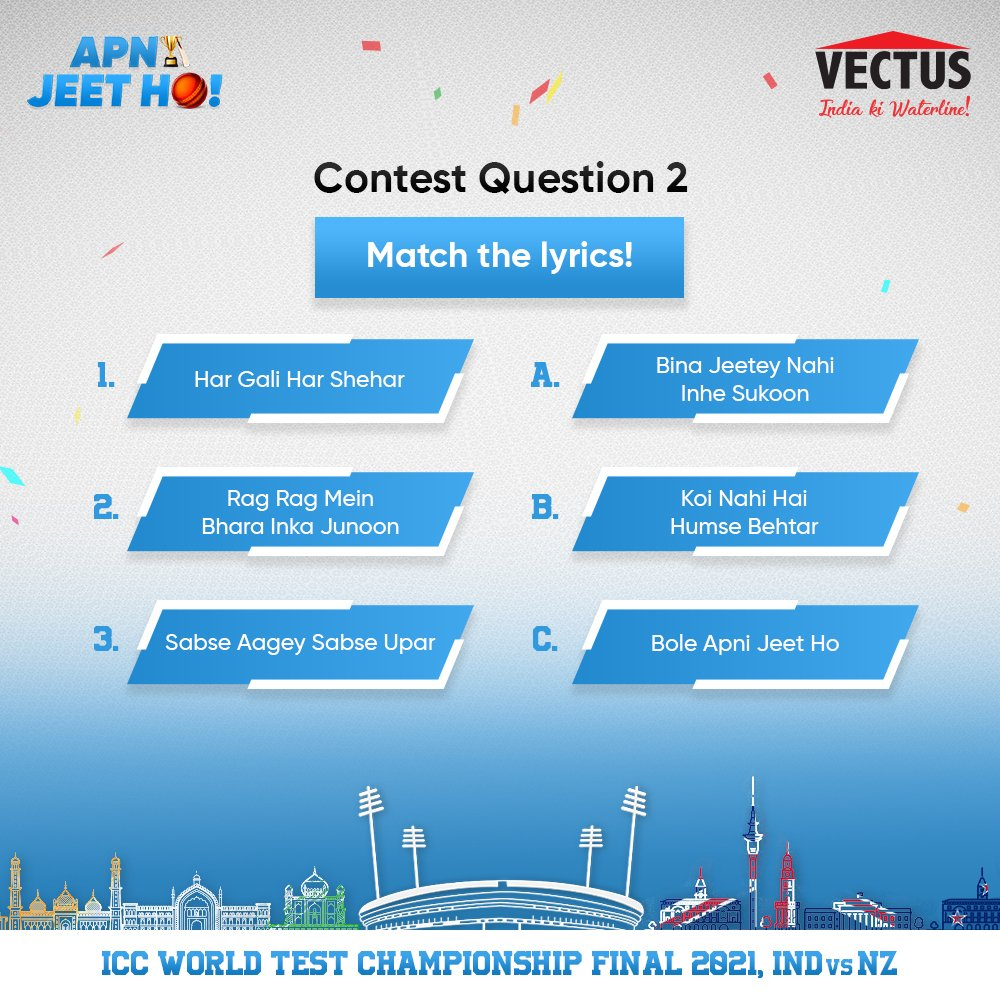 #Contest 🚨 Stand a chance to win Amazon gift vouchers worth INR 500, 1 lucky winner gets it worth INR 10000! 1. Follow Vectus, RT & Like this tweet 2. Reply with the ans using #ApniJeetHo #INDvsNZ  3. Tag 2 friends to participate Contest closes: 11:59 PM, 18 Jun    T&C Apply. https://t.co/qW8KPMSL5W
