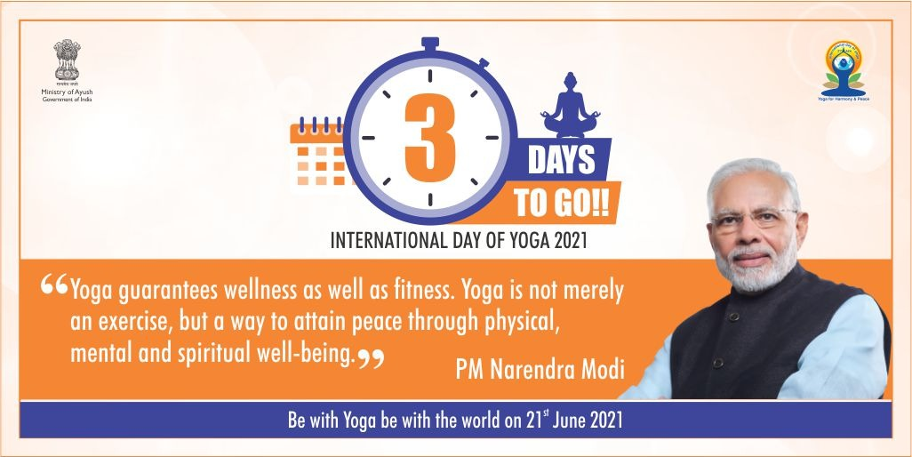 """The theme for #IDY2021 is """"Yoga for Wellness"""" and just three days to go for 7th International Day of Yoga-2021.  Be a part of the celebration, be at home, be with yoga, practice & adopt a healthy lifestyle!   #YogaForWellness #YogaDay2021 #YogaDay   @gssjodhpur @moayush https://t.co/D8ucK6GI0S"""