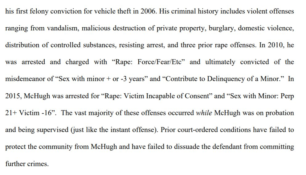 """McHugh, prosecutors say, also has a long criminal history including three rape charges--two of which appear to be against victims who were underage.  """"The vast majority of these offenses occurred while McHugh was on probation and being supervised,"""" prosecutors write. https://t.co/osW8YETRHR"""