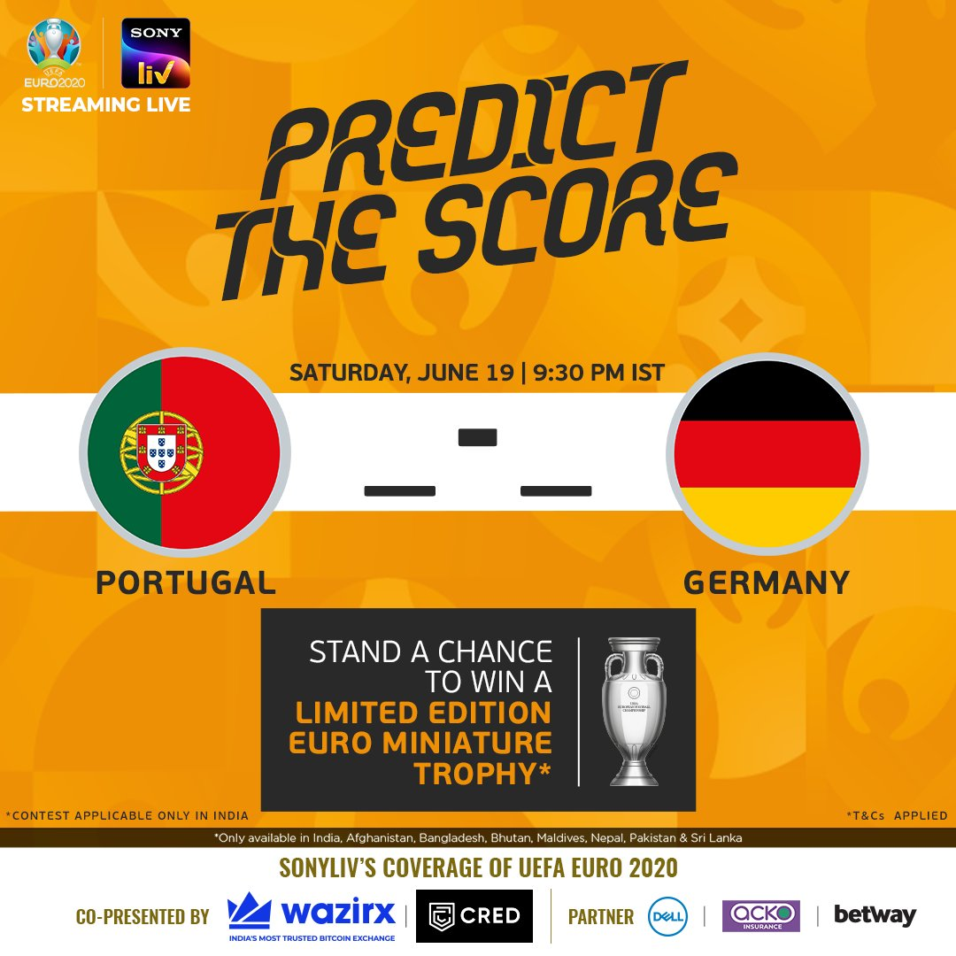 It's 'Put your 🔮 to Test' o'clock ⏰  Predict the ✅ scoreline at the end of 🇵🇹🆚🇩🇪 and stand a chance to win 😍  *T&Cs: https://t.co/owGstHzq9K 📲   #EURO2020 #WaitIsOver #Euro2020onSonyLIV https://t.co/WgDczYnIVP