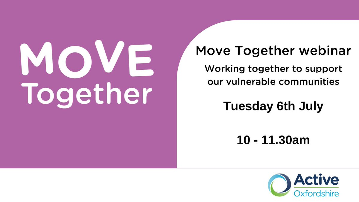 Do you work with people whose physical, mental health or wellbeing has been impacted by the pandemic? Our #MoveTogether webinar will provide you with lots of advice & guidance of how to support or refer someone. Find the details & register here 👇 https://t.co/gP4vk8njtV
