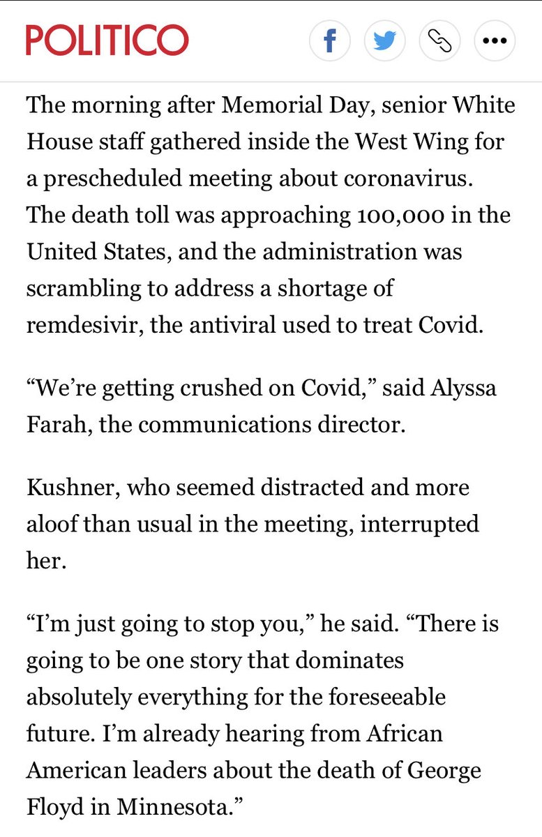 """The morning after George Floyd's death—before cable networks had picked up the video—Kushner told a senior staff meeting that the story was about to dominate. Mark Meadows brushed it off.  """"Nobody is going to care about that,"""" Meadows said.  Buy the book! https://t.co/JNQGy3eXPc https://t.co/M4UcXVtZCo"""